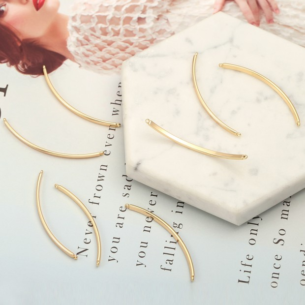 Aobei Pearl, 6 PCS from the Sale, 18K Gold Plated Curved Bar Charm for Jewelry Making, Jewelry Findings, DIY Jewelry Material, ETS-K350