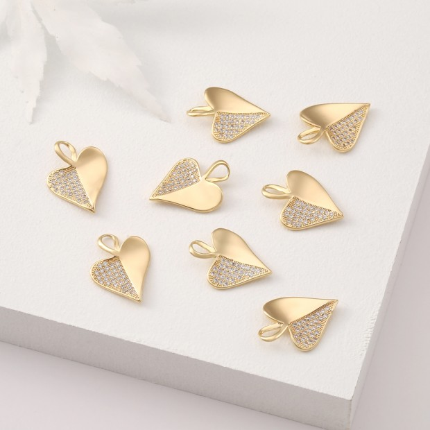 Aobei Pearl, 3 PCS from the Sale, 18K Gold Plated CZ Heart Charm for Jewelry Making, Jewelry Findings, DIY Jewelry Material, ETS-K377