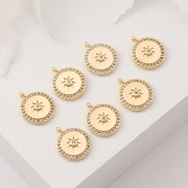 Aobei Pearl, 4 PCS from the Sale, 18K Gold Plated Round CZ Star Flower Pattern Disc Coin Charm for Jewelry Making, Jewelry Findings, DIY Jewelry Material, ETS-K384