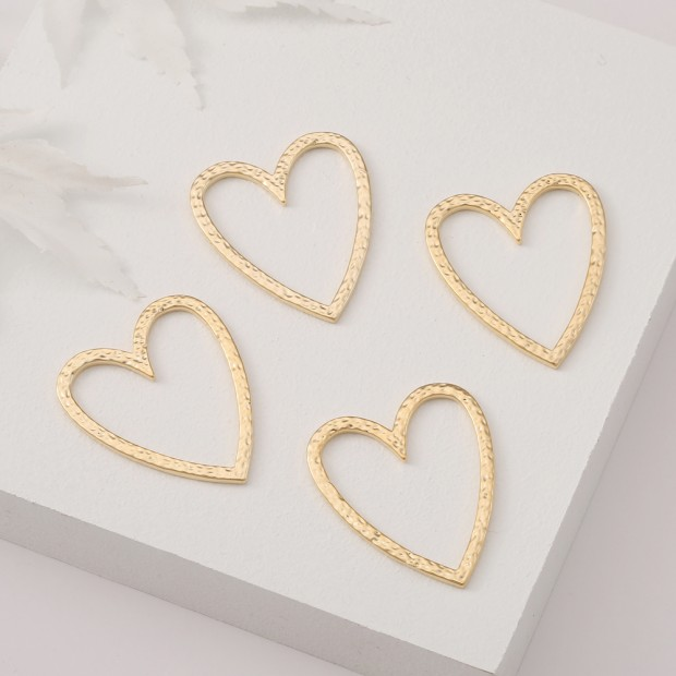Aobei Pearl, 8 PCS from the Sale, 18K Gold Plated Open Hammered Heart Charm for Jewelry Making, Jewelry Findings, DIY Jewelry Material, ETS-K388