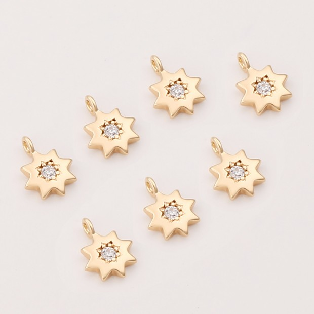 Aobei Pearl ,8 PCS From The Sale, 18K Gold Plated CZ Sun Pendant ,Dangle Charm Pendant For Jewelry Making, Jewelry Findings, DIY Jewelry Material, Making Supplies ETS-K418