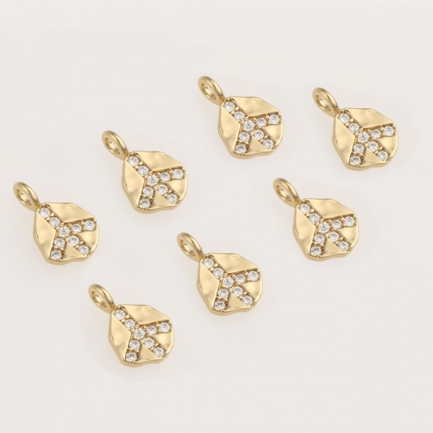 Aobei Pearl ,5 PCS From The Sale, 18K Gold Plated  Mini CZ Medallion Dangle Pendant For Jewelry Making, Jewelry Findings, DIY Jewelry Material, Making Supplies ETS-K464