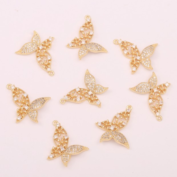 Aobei Pearl ,3 PCS From The Sale, 18K Gold Plated CZ Butterfly Dangle Pendant For Jewelry Making, Jewelry Findings, DIY Jewelry Material, Making Supplies ETS-K466