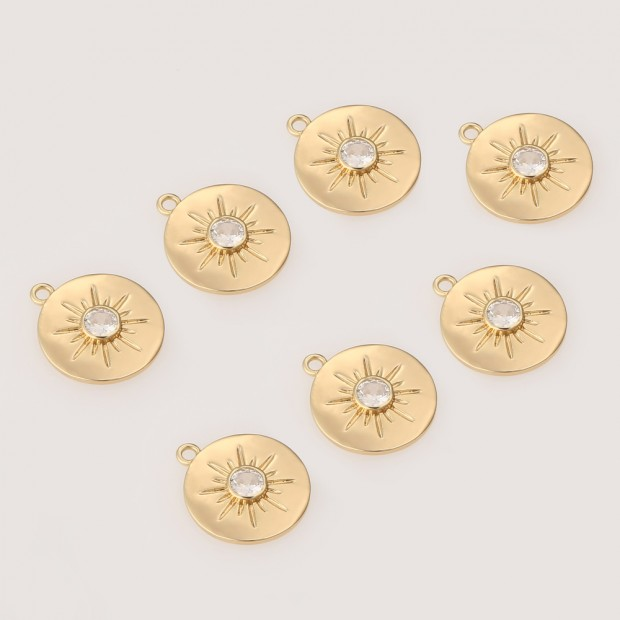 Aobei Pearl ,6 PCS From The Sale, 18K Gold Plated Sun Medallion Dangle Pendant For Jewelry Making, Jewelry Findings, DIY Jewelry Material, Making Supplies ETS-K467