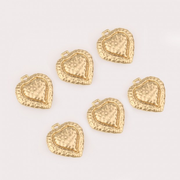 Aobei Pearl ,4 PCS From The Sale, 18K Gold Plated heart Medallion Dangle   Pendant For Jewelry Making, Jewelry Findings, DIY Jewelry Material,   Making Supplies ETS-K468