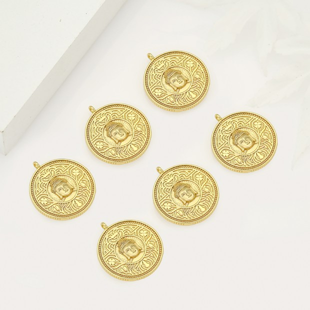 Aobei Pearl ,5PCS From The Sale, 18K Gold Plated buddha medallion Charm Pendant For Jewelry Making, Jewelry Findings, DIY Jewelry Material, Making Supplies ETS-K507