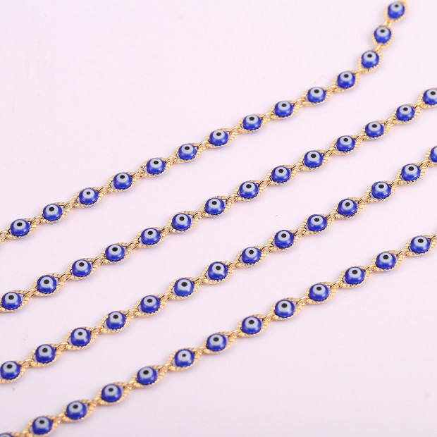 """Aobei Pearl ,39"""" Blue Demon Eye Chain,18K Gold Plated chain For Jewelry Making, Jewelry Findings, DIY Jewelry Material, Making Supplies ETS-K508"""
