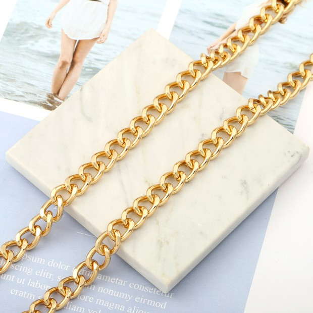 Aobei Pearl, 1 Meter from the Sale, 18K Gold 10mm Cuban Chain for Jewelry Making, Jewelry Findings, DIY Jewelry Material, ETS-K558