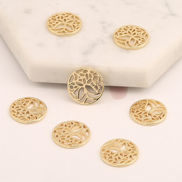 Aobei Pearl, 8 PCS from the Sale, 18K Gold Tree of Life Charm for Jewelry Making, Jewelry Findings, DIY Jewelry Material, Round Hollow Coin Pendant, ETS-K566