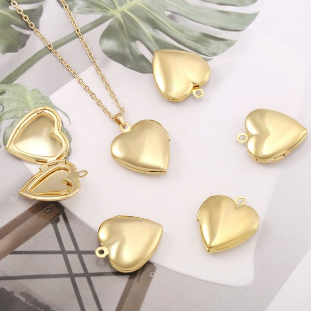 Aobei Pearl, 5 PCS from the Sale, 18K Gold Heart Locket Cage Charm for Jewelry Making, Jewelry Findings, DIY Jewelry Material, ETS-K576