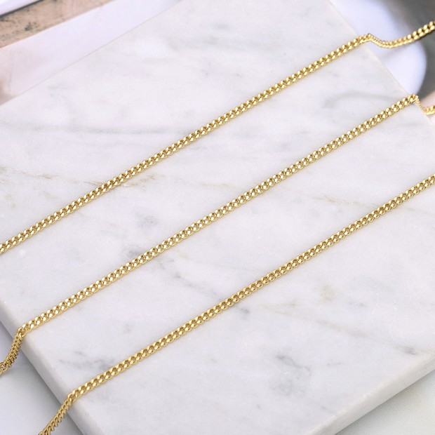 Aobei Pearl, 2 Meters from the Sale, 18K Gold 2mm Cuban Chain for Jewelry Making, Jewelry Findings, DIY Jewelry Material, ETS-K582