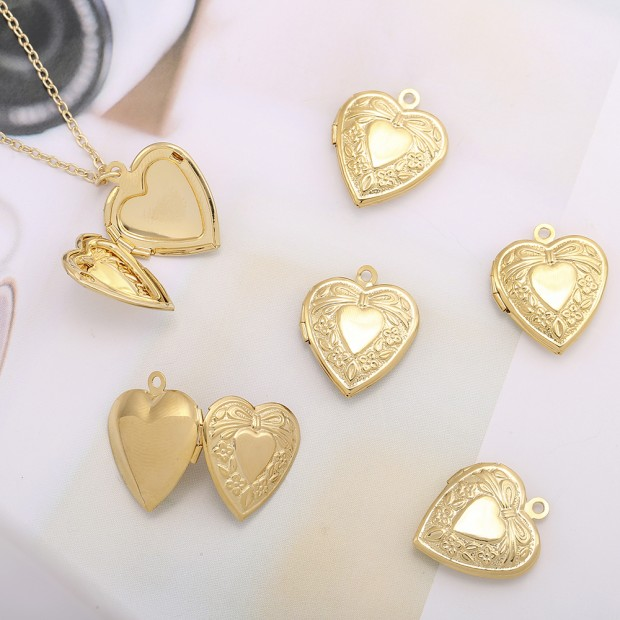 Aobei Pearl, 5 PCS from the Sale, 18K Gold Engraved Love Heart Locket Cage Charm for Jewelry Making, Jewelry Findings, DIY Jewelry Material, ETS-K583