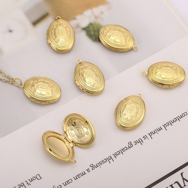 Aobei Pearl, 5 PCS from the Sale, 18K Gold Engraved Oval Locket Cage Charm for Jewelry Making, Jewelry Findings, DIY Jewelry Material, ETS-K585