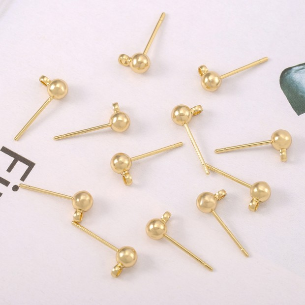 Aobei Pearl, 20 PCS (10 Pairs) from the Sale, 18k Gold 4mm Ball Stud Earrings with 2.0mm Hole, 14*4mm Shiny Gold Ball Earrings, ETS-K615