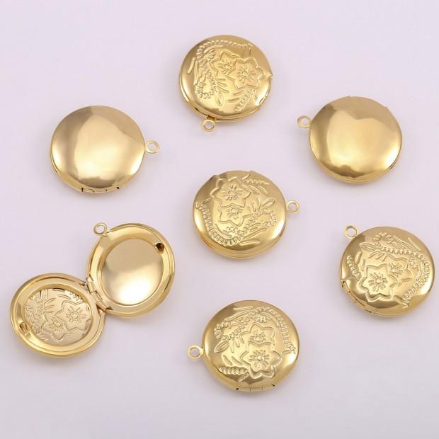 Aobei pearl,5pcs 18K shiny gold round small box pendant, store photo pendants, small box pendants, jewelry making, round pendants.EST-K616
