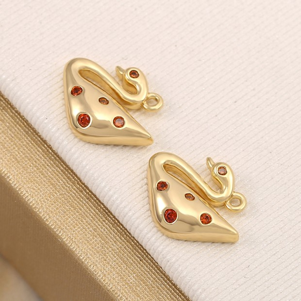 Aobei Pearl,5Pcs 18k Shiny Gold Swan Charms,Red CZ Micro Paved Swan Pendant,11X13mm,Animal Charm,Swan Jewelry,Bird Chaem,Gold Plated Finding,Jewelry.ETS-K623