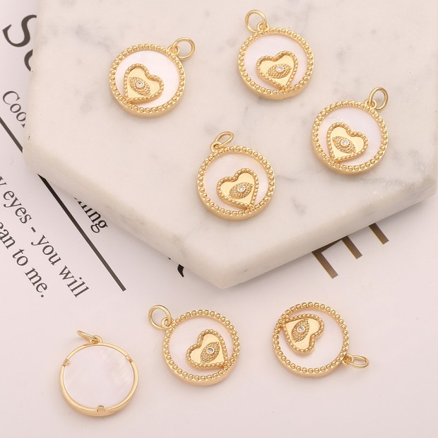 Aobei Pearl, 3 PCS from the Sale, 18K Gold Cubic Zirconia Evil Eye Charm for Jewelry Making, Jewelry Findings, DIY Jewelry Material, Love Heart Charm, Round Shell Disc Pendant, ETS-K624
