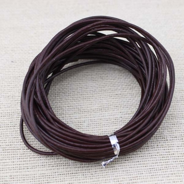 Necklace leather cord,genuine leather cord,2.0 mm leather cord,dark brown leather cord,leather cord for jewelry, 10 yards ,ETS-P009