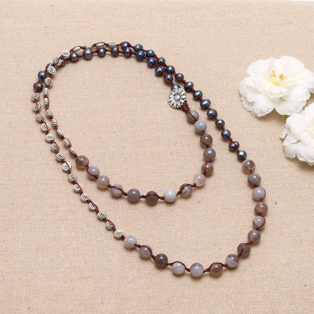 New fashion agate stone gray freshwater pearl choker 47.24 inch knotted necklace ETS-S043