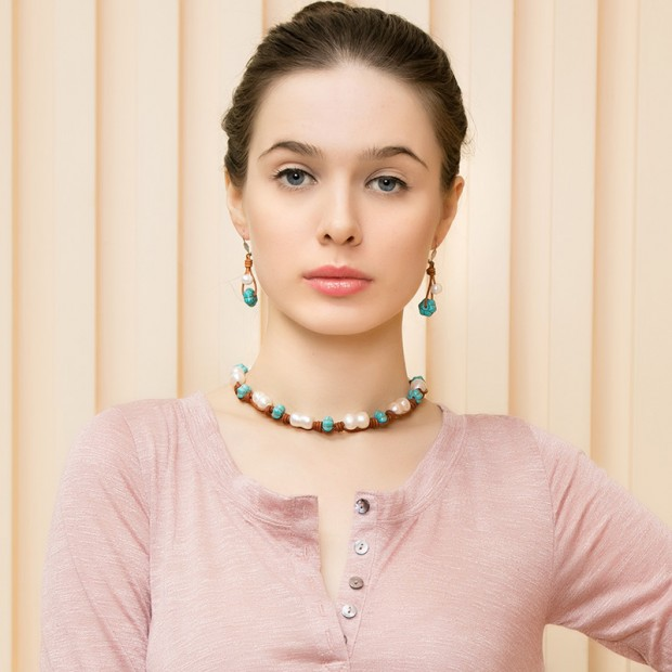 10-11mm Freshwater Pearl Necklace Handmade Leather Necklace Genuine  cucurbit  Pearls for Women Jewelry,ETS-S074