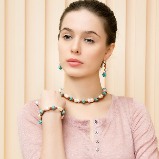 10-11mm Freshwater Pearl Necklace and Bracelet Set Handmade Leather Necklace Genuine cucurbit  Pearls Necklace for Women Jewelry,ETS-S075