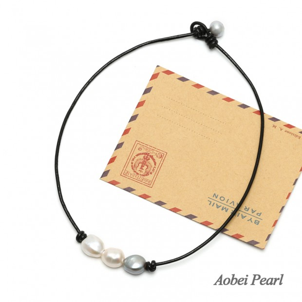 Aobei Pearl Choker Necklace made of Freshwater Pearl and Genuine Leather Cord, Leather Pearl Necklace, Handmade Necklace, ETS-S1001-5