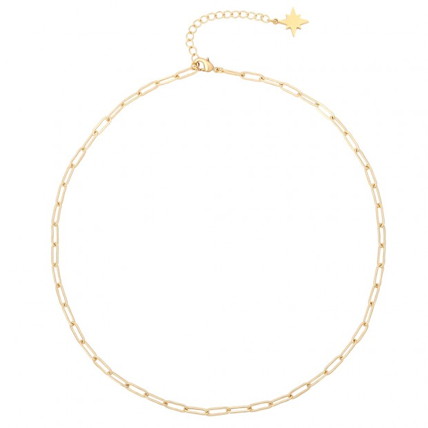 Aobei Pearl Gold Curb Chain Choker Adjustable Chain Link Necklace Handmade North Star Charm Jewelry for Women, ETS-S1014