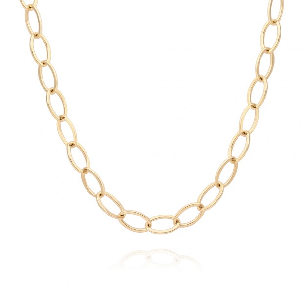 Aobei Pearl,18k gold plated chunky chain  adjustible toggle clasp to make a lariat Necklace,dainty big oval link chain ,Jewelry for Women Necklace,ETS-S1026