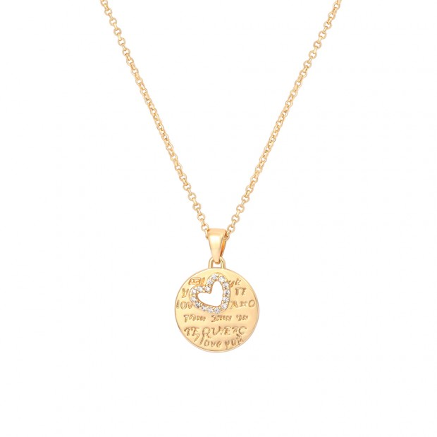 Aobei Pearl,18k gold plated Shiny cuble-zirconia hollowed heart shape dainty carved love letter,lobster chain ,adjustible Necklace ,Jewelry for Women Necklace,ETS-S1027