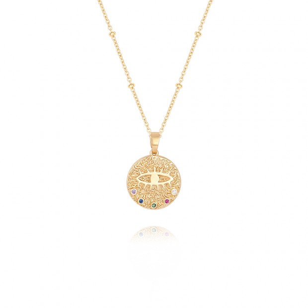 Aobei,18K gold plated Zircon Evil Eye textured coin Pendant Necklace,satellite beaded dainty chain,adjustable length,handmede jewelry,Favorites,Jewelry for Women Necklace, ladies gifts ETS-S1064