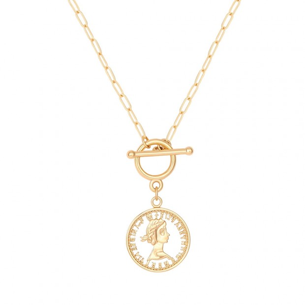 Aobei,18K Plated Beauty Head Pendant Necklace,toggle clasp,handmade Necklace,adjustable Chain Link,Favorites,Jewelry for Women Necklace,personality art,ladies gifts ETS-S1066