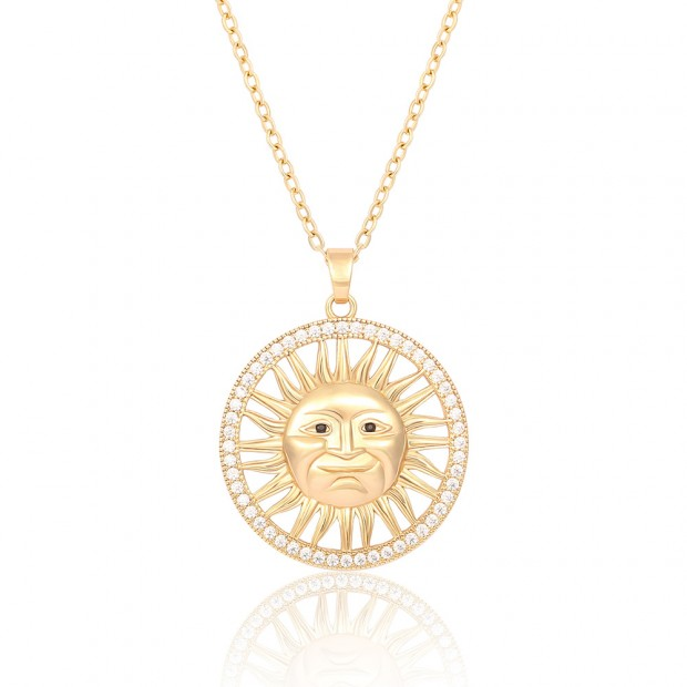 """Aobei,24"""" 18K Plated Sun God Pendant Necklace ,handmade Necklace,dainty pendant dangling Necklace,adjustable Chain Link,Favorites,Jewelry for Women Necklace,personality art,ladies gifts ETS-S1067"""