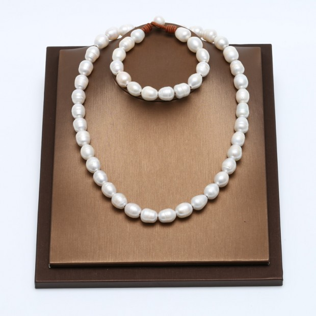 Aobei Pearl, Handmade Jewelry Set with Freshwater Pearl and Genuine Leather Cord, Pearl Necklace, Pearl Bracelet, ETS-S112