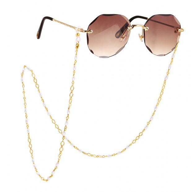 Aobei Pearl,18K Gold Plated Eyeglass Chain Sunglasses Eyewear Strap Holder for Women,ETS-S1157