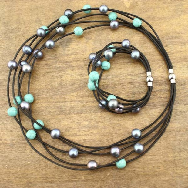 Women's Pearls Necklace and Stretch bracelet sets Peacock Blue Pearl Freshwater Turquoise Necklace and Bracelet  Adjustable pearl jewelry,ETS-S220