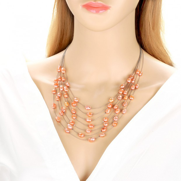 7-8 MM Baroque Natural Orange Freshwater Pearl 19'' Handmade Woman Fashion 7 Rows Necklace
