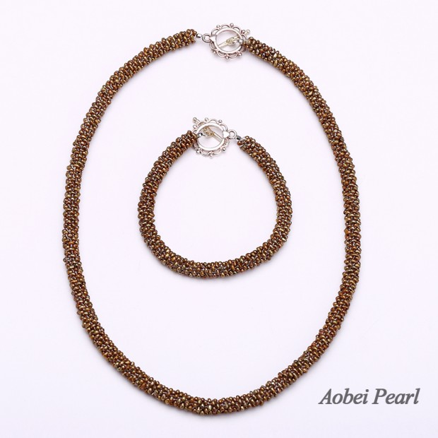Aobei Pearl, Unique Jewelry Set, Only 1 Set Available, Handmade Jewelry Set made of Freshwater Pearl and 925 String Silver Clasp, Pearl Necklace, Pearl Bracelet, Beaded Necklace, ETS-S265