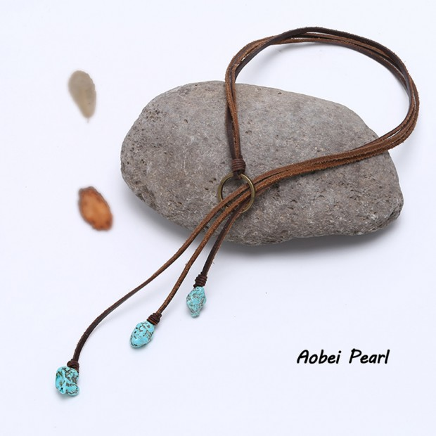 Aobei Pearl - Handmade Necklace in Three Strands with Flat  Leather Cord & Turquoise, Turquoise Necklace, ETS-S290