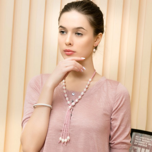 11-12mm Rice Parels Necklace Women Leather Necklace White Plearl Necklace Pink Leather,Genuine Freshwater Pearl,ETS-S293