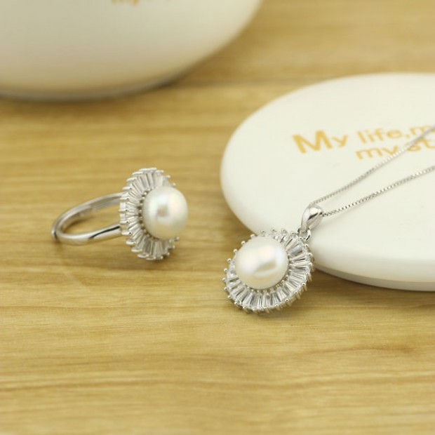 9.5-10 MM Button Freshwater White Pearl Pure Silver Zircon Ring&Necklace Jewelry 1 Set
