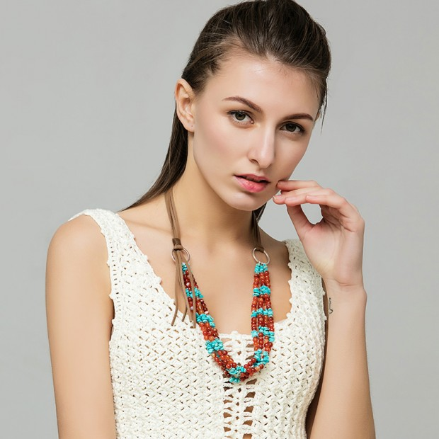 Aobei Pearl, Agate turquoise beads Korean velvet cord personalized necklace, statement necklace, chunky necklace, ETS-S607