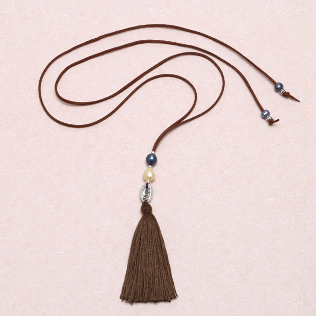 Aobei Pearl - Long Korean velvet cord freshwater pearl tassel necklace, knot necklace, personalized necklace, ETS - S608