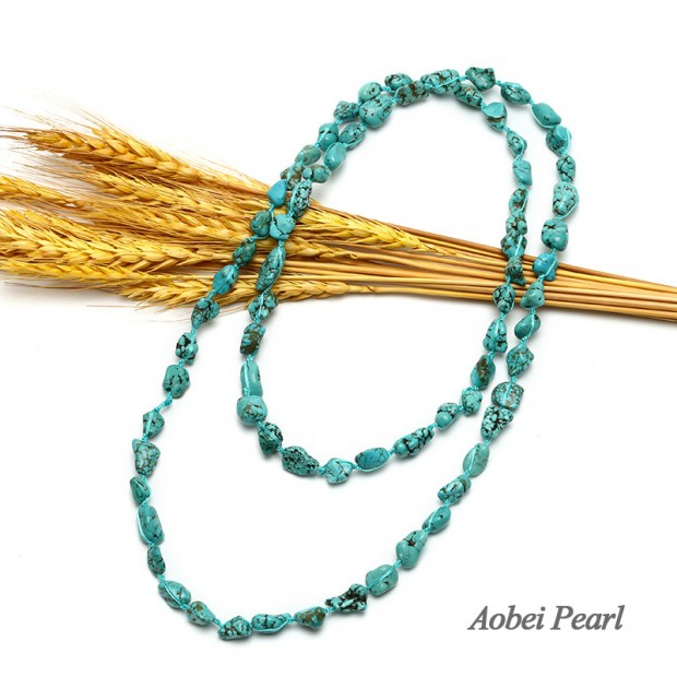 Aobei Pearl, Handmade Baroque Turquoise Long Beaded Necklace, Turquoise Necklace, ETS-S611