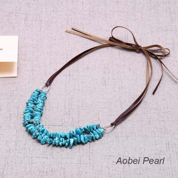 Aobei Pearl - Turquoise Beaded Statement Personalized Necklace for Women, Knotted Necklace, Artificial Leather Cord Necklace, Turquoise Necklace, ETS-S617