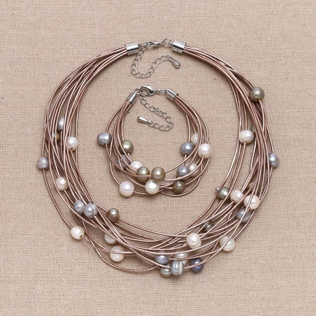 ETS-S659 10-11mm potato 2.5MM hole white pearl leather pearl chunck choker necklaces and bracelets jewelry set