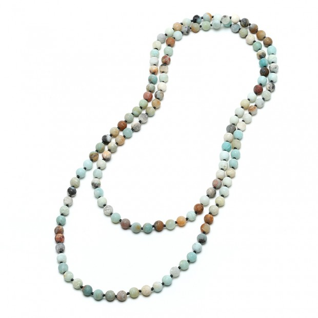 """Aobei Pearl Handmade 47.5"""" Amazonite Endless Necklace, Knotted Necklace, Long Beaded Necklace, 8 mm Natural Amazonite Necklace, ETS-S732"""