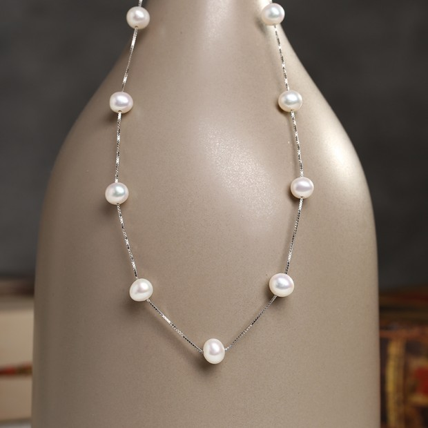 Aobei Pearl Exquisite Necklace with Pearls & String Silver Chain for Beautiful Bride ! Pearl Necklace, ETS-S798