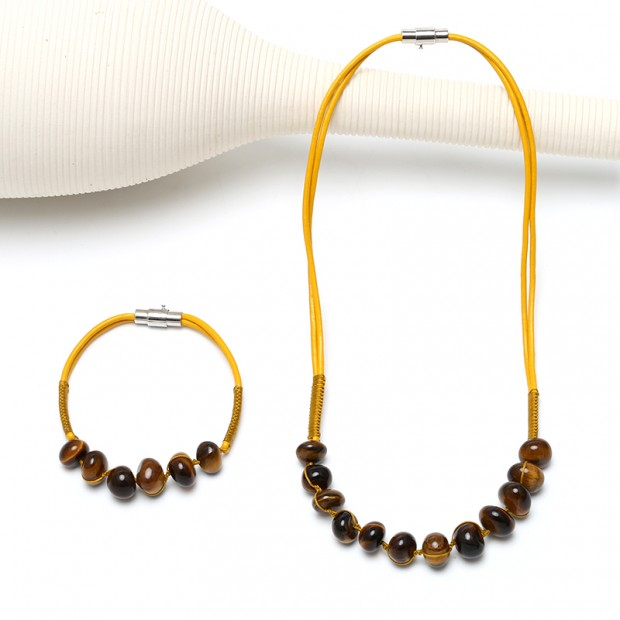 Aobei Pearl, Handmade Leather Necklace and Bracelet for Jewelry Set, Tiger-eyes Stones Jewelry, ETS-S827