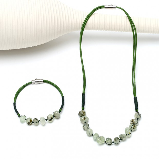 Aobei Pearl, Handmade Leather Necklace and Bracelet for Jewelry Set, Natural Stones Jewelry, ETS-S829