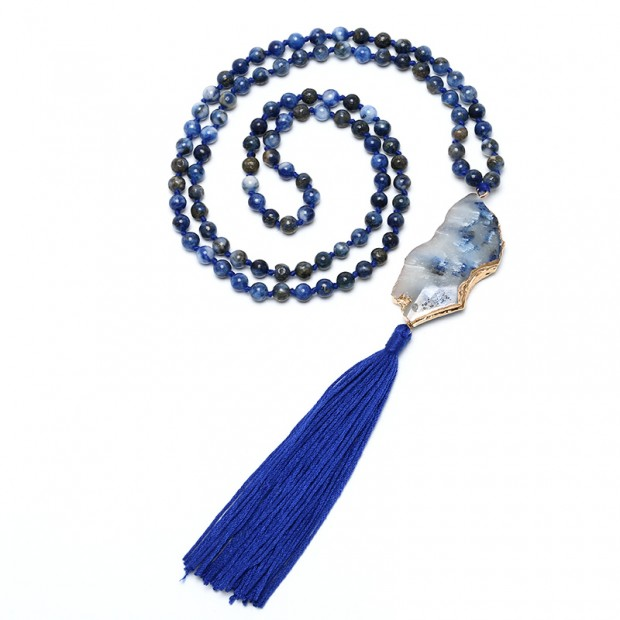 Aobei Pearl Handmade Long Necklace with Natural Stones & Pendant, ETS-S831